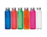 Trinkflasche transparent mit Edelstahldeckel