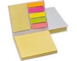 Haftmarker- und Haftnotizzettel im weißen Hardcover